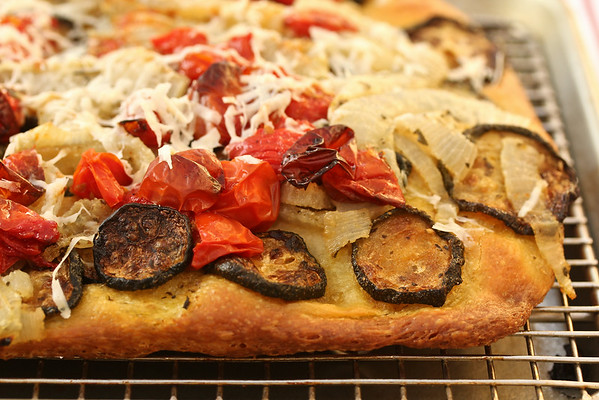 Roasted Vegetable Focaccia from Karen's Kitchen Stories