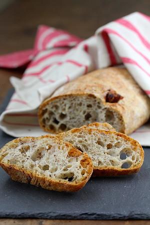 Rustic Flaxseed and Date Ciabatta Bread