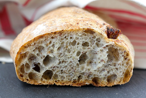 Rustic Flaxseed and Date Ciabatta Bread