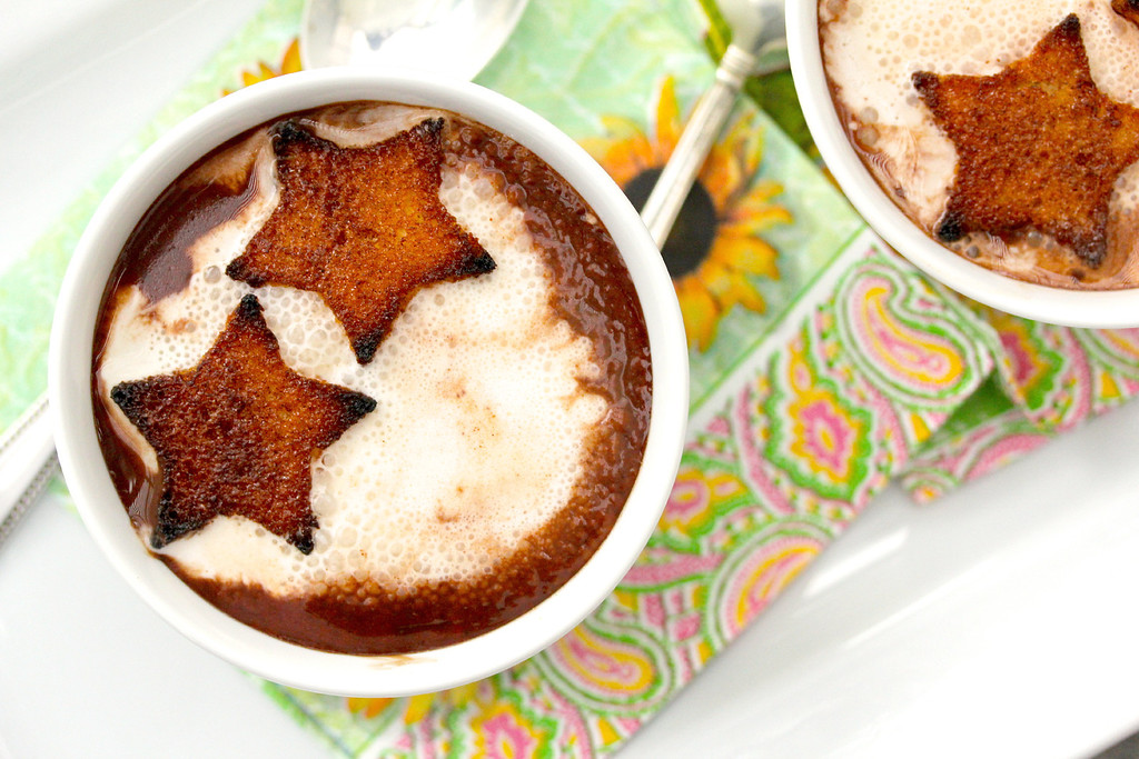 Dark Chocolate Soup with Cinnamon-Toasted Pound Cake Croutons #chocolateparty