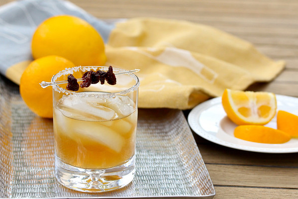 Sidecar Cocktail with Dried Cherries