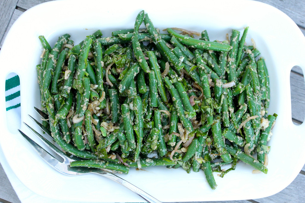 Green Bean Salad with Basil, Parmesan, Shallots, and Balsamic