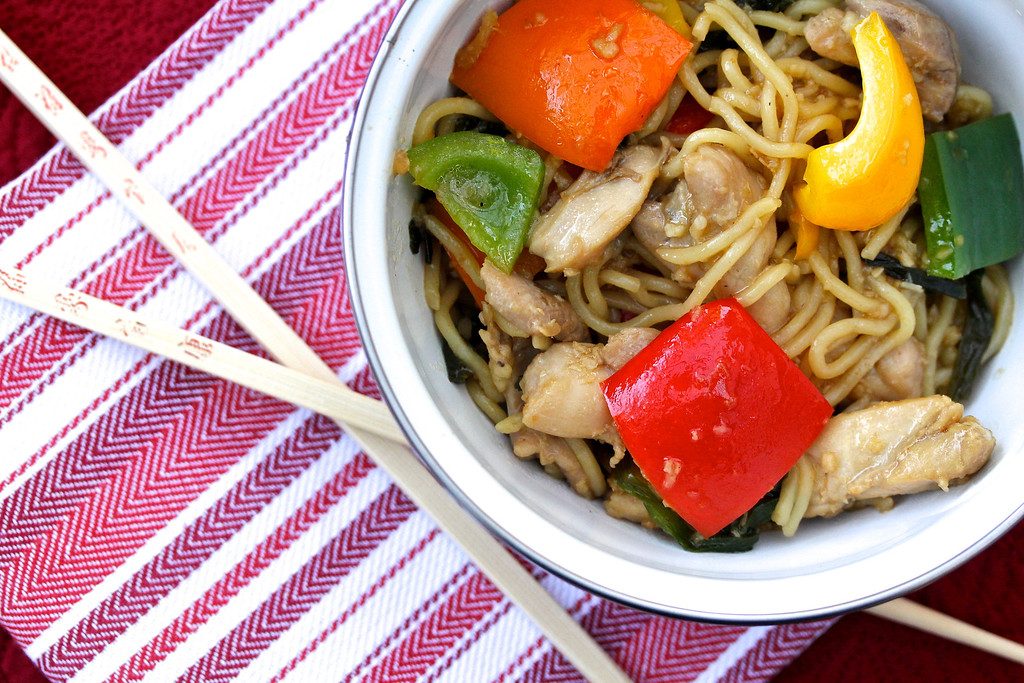 Chicken and Bell Pepper Chow Mein