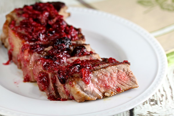Cranberry Horseradish Pan-Fried Steak from Karen's Kitchen Stories