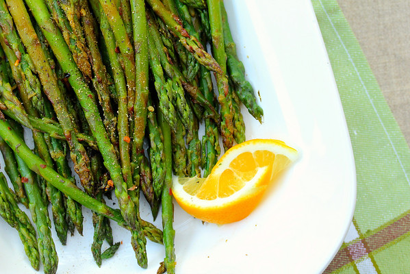 Asparagus with Lemon, MInt, and Red Peppers