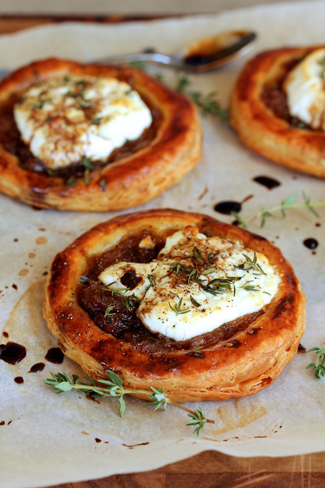 Caramelized Onion, Goat Cheese, and Balsamic Tartlets | Karen's Kitchen Stories