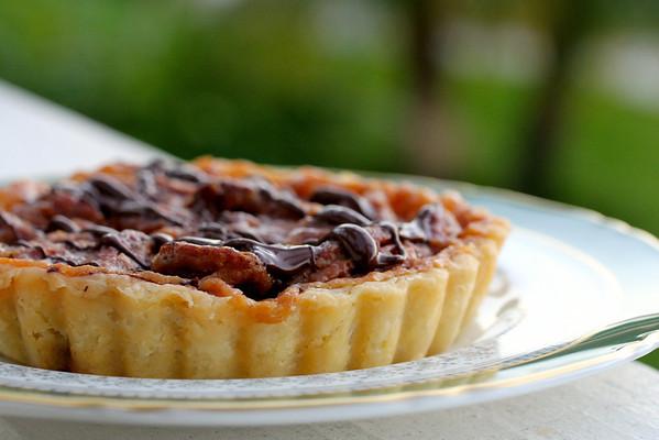 Bittersweet Chocolate Caramel Pecan Tarts