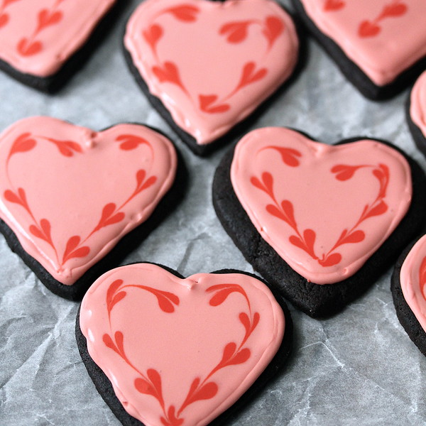 Chocolate Valentine Sugar Cookies with Royal Icing