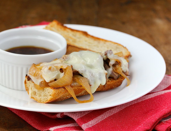 French Dip Sandwich au Jus made in the Slow Cooker