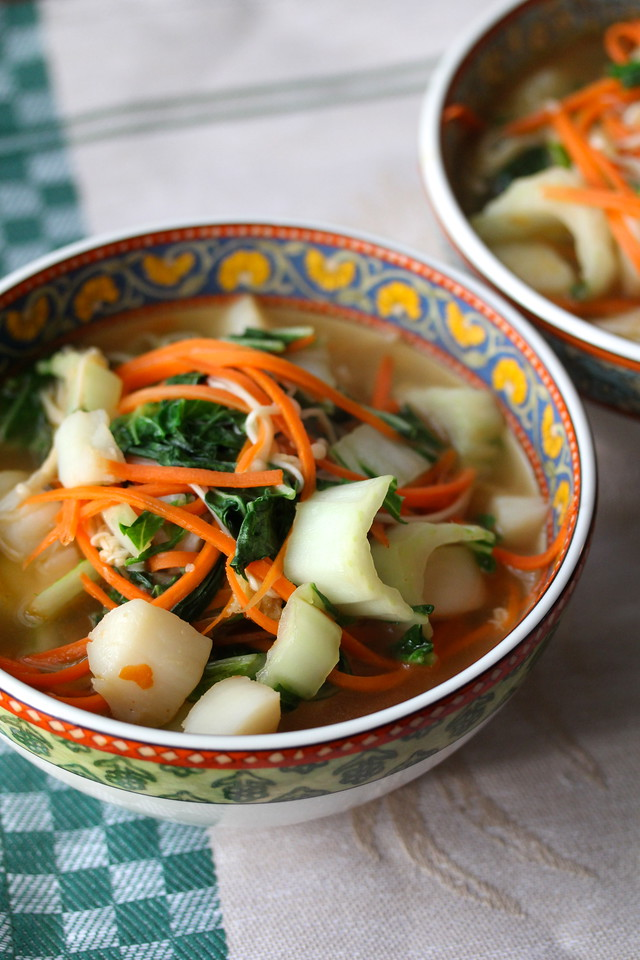 Noodle Soup with Stir Fried Scallops and Enoki Mushrooms: Top Ten Reader Favorites for Karen's Kitchen Stories