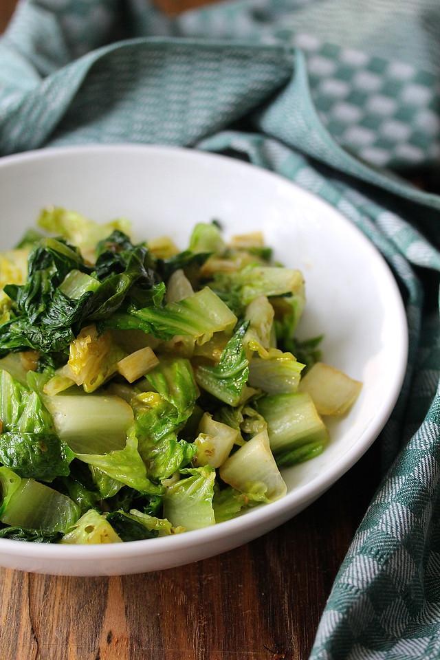Stir-Fried Romaine Lettuce with Garlic Chili | Wok Wednesdays